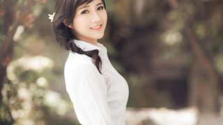 Beautiful girl in Ao dai dress at Hanoi festival
